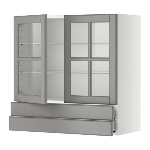 МЕТОД / МАКСИМЕРА Навесной шкаф/2 стек дв/2 ящика - 80x80 см, Будбин серый, белый