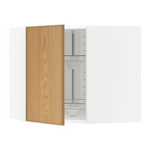 МЕТОД Угл нвсн шкф с вращающ секц - 68x60 см, Экестад дуб, белый