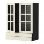 МЕТОД / МАКСИМЕРА Навесной шкаф/2 стек дв/2 ящика - 80x100 см, Будбин белый с оттенком, под дерево черный