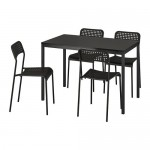 ADDE / TĘRENDÖ stół i krzesło 4 czarne