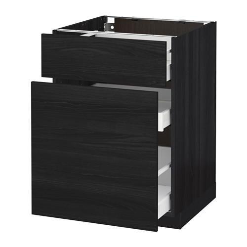 МЕТОД / МАКСИМЕРА Напольн шкаф/выдвижн секц/ящик - 60x60 см, Тингсрид под дерево черный, под дерево черный