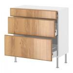 ФАКТУМ Напольный шкаф с 3 ящиками - Норье дуб, 60x37 см