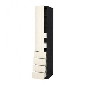 METHOD / FORVARA H cabinet with PLC / 6 yaschk / door / 4 FRNT - 40x60x220 cm Hitarp white with shade, wood black