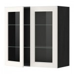 МЕТОД Навесной шкаф с полками/2 стекл дв - 80x80 см, Лаксарби белый, под дерево черный