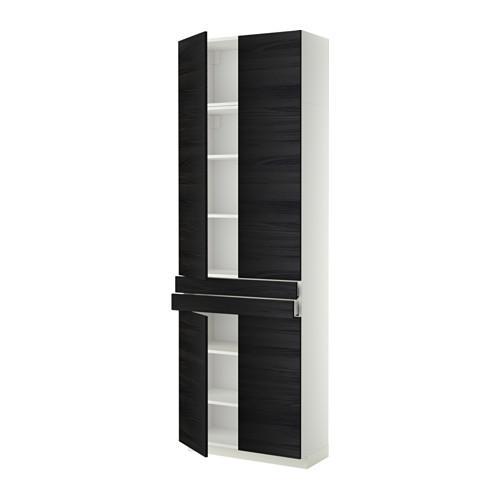 МЕТОД / МАКСИМЕРА Высокий шкаф+полки/2 ящика/4 дверцы - Тингсрид под дерево черный, белый