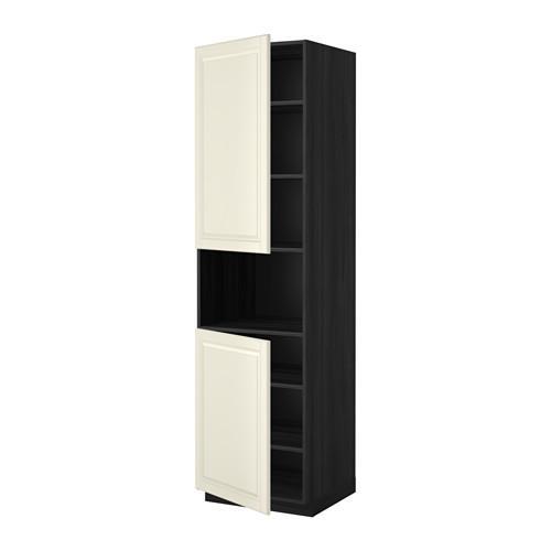 МЕТОД Выс шкаф д/СВЧ/2 дверцы/полки - 60x60x220 см, Будбин белый с оттенком, под дерево черный