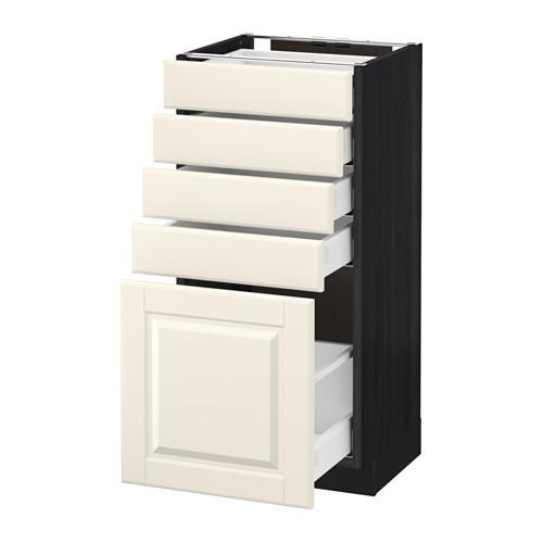 МЕТОД / МАКСИМЕРА Напольный шкаф с 5 ящиками - 40x37 см, Будбин белый с оттенком, под дерево черный