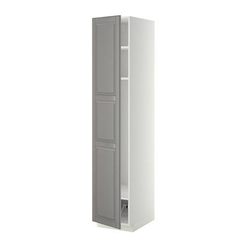 МЕТОД Выс шкаф с полками/проволоч корзин - 40x60x200 см, Будбин серый, белый