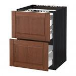 МЕТОД / МАКСИМЕРА Напольн шкаф/2 фронт пнл/3 ящика - 60x60 см, Филипстад коричневый, под дерево черный