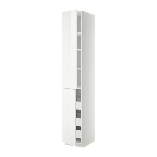 МЕТОД / МАКСИМЕРА Высокий шкаф+полки/3 ящика/2 дверцы - 40x60x240 см, Рингульт глянцевый белый, белый