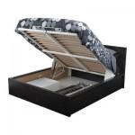 МАЛЬМ Кровать с подъемным механизмом - черно-коричневый, 140x200 см