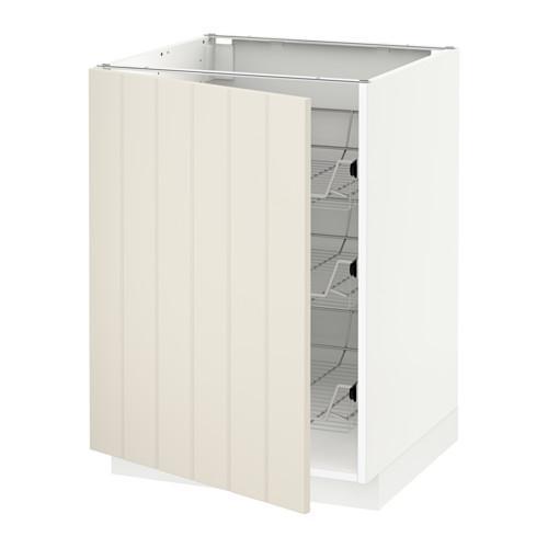 МЕТОД Напольный шкаф с проволочн ящиками - 60x60 см, Хитарп белый с оттенком, белый