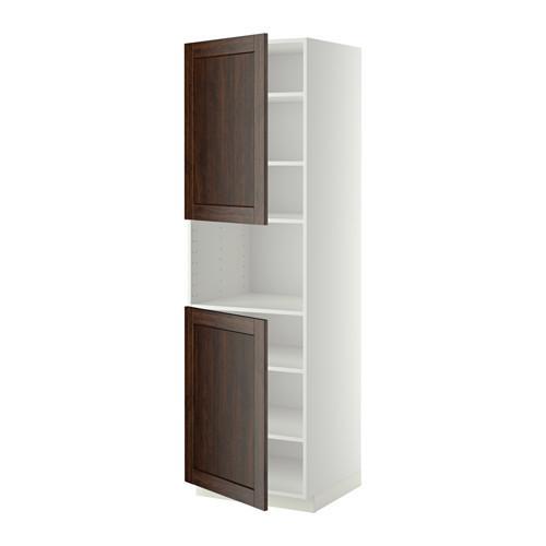 МЕТОД Выс шкаф д/СВЧ/2 дверцы/полки - 60x60x200 см, Эдсерум под дерево коричневый, белый