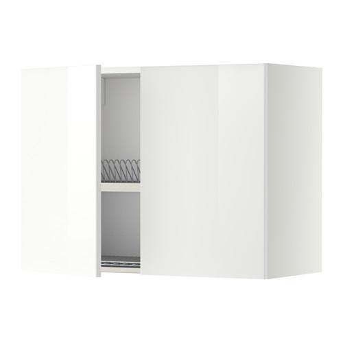 МЕТОД Навесной шкаф с посуд суш/2 дврц - 80x60 см, Рингульт глянцевый белый, белый