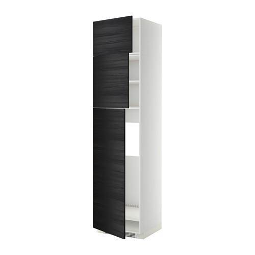 МЕТОД Высокий шкаф д/холодильника/3дверцы - Тингсрид под дерево черный, белый