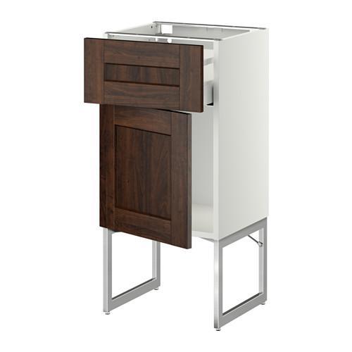 МЕТОД / МАКСИМЕРА Напольный шкаф с ящиком/дверью - 40x37x60 см, Эдсерум под дерево коричневый, белый