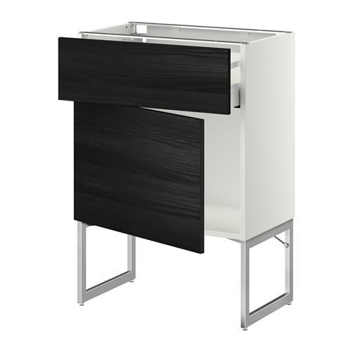 МЕТОД / МАКСИМЕРА Напольный шкаф с ящиком/дверью - 60x37x60 см, Тингсрид под дерево черный, белый