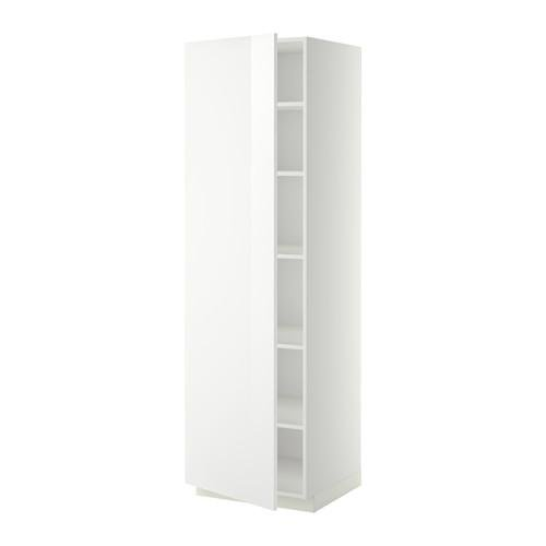 МЕТОД Высок шкаф с полками - 60x60x200 см, Рингульт глянцевый белый, белый