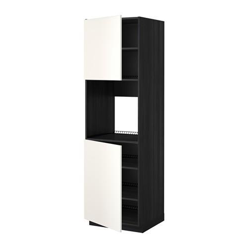MÉTHODE grand cabinet d / four / 2dvertsy / étagères - bois noir, mariage blanc, 60x60x200 cm