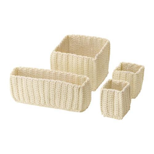 NORDREN Un conjunto de cestas, piezas 4 - blanco con un toque