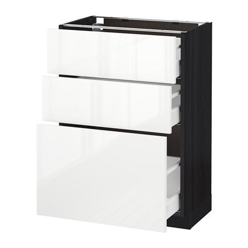 МЕТОД / МАКСИМЕРА Напольный шкаф с 3 ящиками - 60x37 см, Рингульт глянцевый белый, под дерево черный