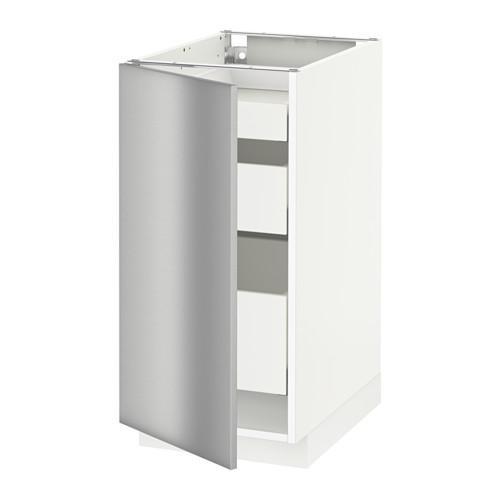 МЕТОД / МАКСИМЕРА Напольный шкаф с 1двр/3ящ - 40x60 см, Гревста нержавеющ сталь, белый