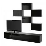 БЕСТО Шкаф для ТВ, комбинация - черно-коричневый/Сельсвикен глянцевый/черный, направляющие ящика,нажимные