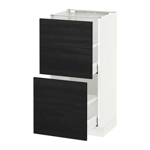 МЕТОД / МАКСИМЕРА Напольный шкаф с 2 ящиками - 40x37 см, Тингсрид под дерево черный, белый