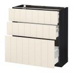 МЕТОД / МАКСИМЕРА Напольный шкаф с 3 ящиками - 80x37 см, Хитарп белый с оттенком, под дерево черный