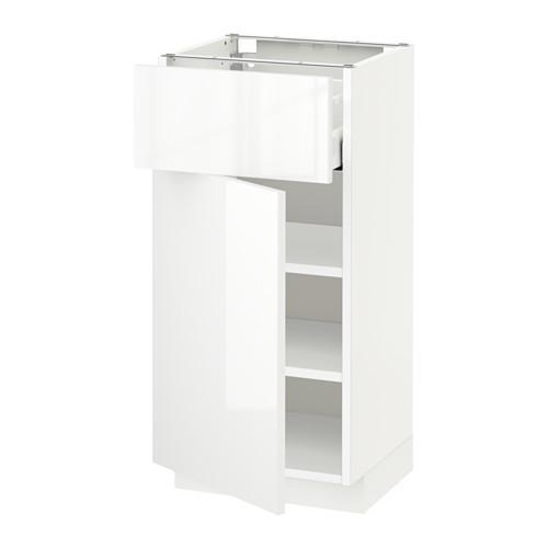 МЕТОД / МАКСИМЕРА Напольный шкаф с ящиком/дверью - 40x37 см, Рингульт глянцевый белый, белый