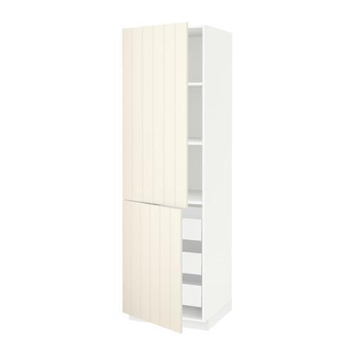 МЕТОД / МАКСИМЕРА Высокий шкаф+полки/3 ящика/2 дверцы - 60x60x200 см, Хитарп белый с оттенком, белый