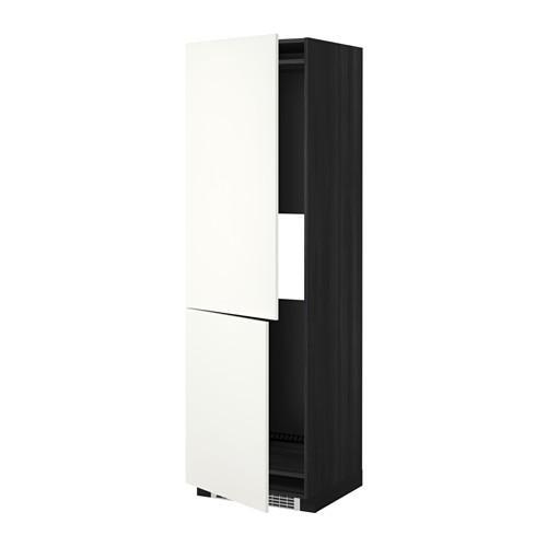 МЕТОД Выс шкаф д/холодильн или морозильн - 60x60x200 см, Хэггеби белый, под дерево черный