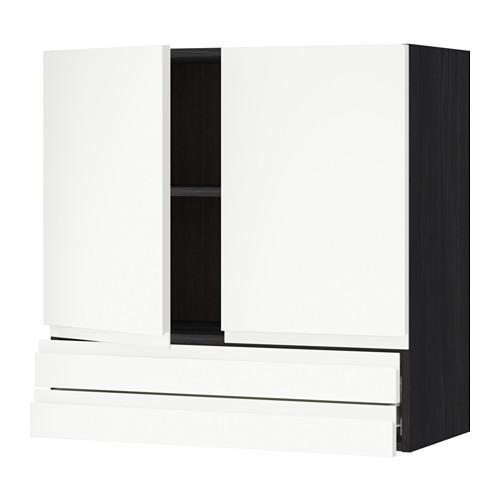 VERFAHREN / FORVARA Wandschrank / 2dvertsy / 2yaschika - Holz schwarz, weiß Vokstorp, 80x80 cm