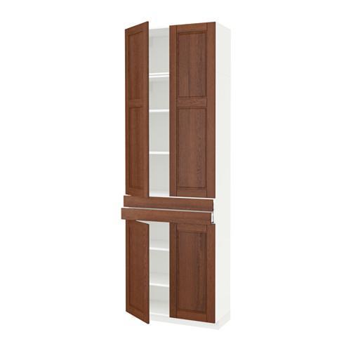МЕТОД / МАКСИМЕРА Высокий шкаф+полки/2 ящика/4 дверцы - белый, Филипстад коричневый