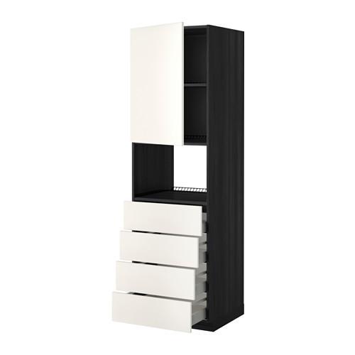 МЕТОД / МАКСИМЕРА Высок шкаф д/духовки/дверца/4ящика - 60x60x200 см, Веддинге белый, под дерево черный