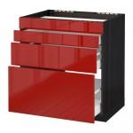 VERFAHREN / MAKSIMERA Nap Schrank d / Backofen / 4fasada / 3yaschika - 80x60 cm Ringult glänzend rot, schwarz Holz