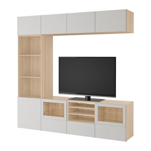 best tv schrank kombination glast r ein gebleichter eiche lappviken hellgrau. Black Bedroom Furniture Sets. Home Design Ideas