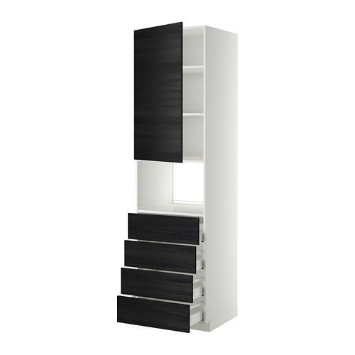МЕТОД / МАКСИМЕРА Высок шкаф д/духовки/дверца/4ящика - 60x60x220 см, Тингсрид под дерево черный, белый