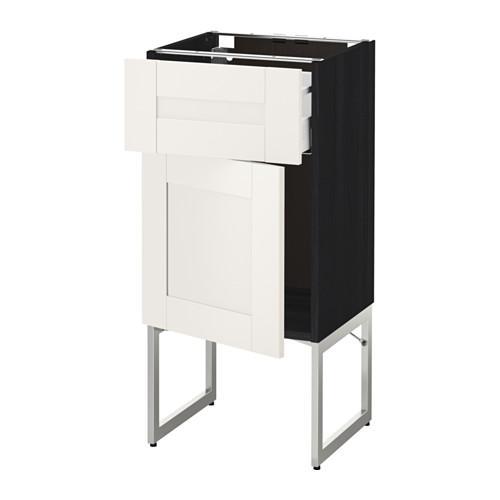 МЕТОД / МАКСИМЕРА Напольный шкаф с ящиком/дверью - 40x37x60 см, Сэведаль белый, под дерево черный