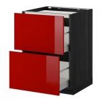 МЕТОД / МАКСИМЕРА Напольн шкаф/2фронт пнл/3ящика - 60x60 см, Рингульт глянцевый красный, под дерево черный
