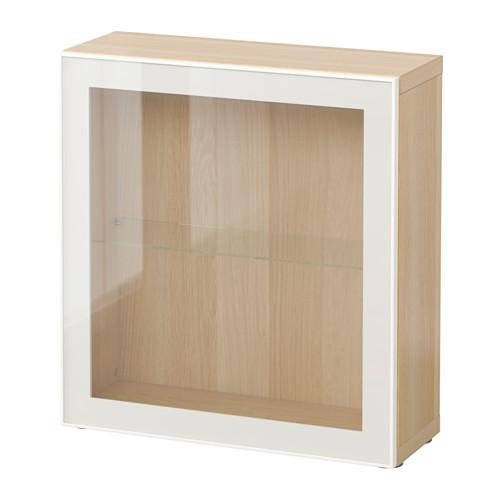 БЕСТО Стеллаж со стеклянн дверью - под беленый дуб/Глассвик белый/прозрачное стекло