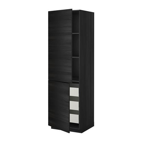 МЕТОД / МАКСИМЕРА Высокий шкаф+полки/3 ящика/2 дверцы - 60x60x200 см, Тингсрид под дерево черный, под дерево черный