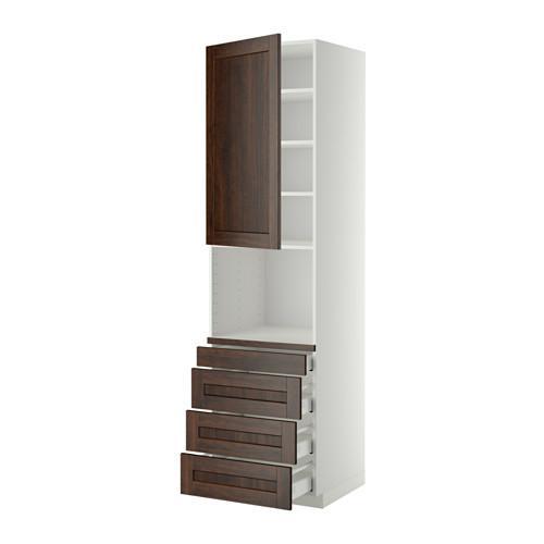 МЕТОД / МАКСИМЕРА Высокий шкаф д/комбинир СВЧ/4 ящика - 60x60x220 см, Эдсерум под дерево коричневый, белый