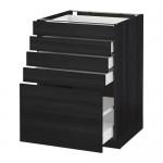 МЕТОД / МАКСИМЕРА Напольный шкаф с 5 ящиками - 60x60 см, Тингсрид под дерево черный, под дерево черный