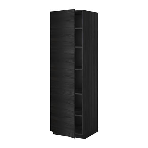 МЕТОД Высок шкаф с полками - 60x60x200 см, Тингсрид под дерево черный, под дерево черный