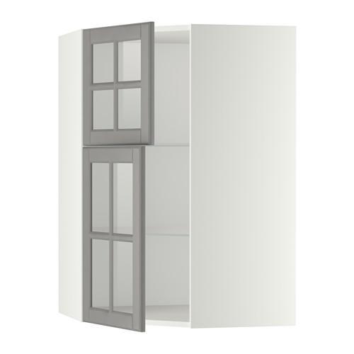 МЕТОД Углов навесной шкаф+полки/2 сткл дв - белый, Будбин серый