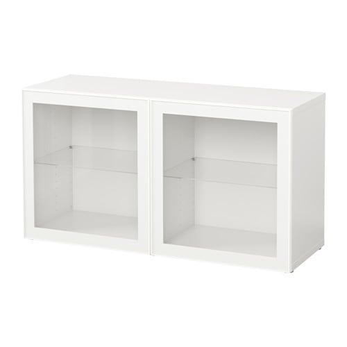 Libreria Ikea Con Ante In Vetro.Besta Libreria Con Ante In Vetro Bianco Glassvik Bianco Vetro Trasparente