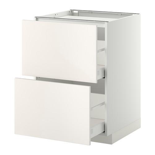 МЕТОД / МАКСИМЕРА Напольн шкаф/2фронт пнл/3ящика - 60x60 см, Веддинге белый, белый