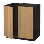 МЕТОД Напольн шкаф д раковины+2 двери - Экестад дуб, под дерево черный