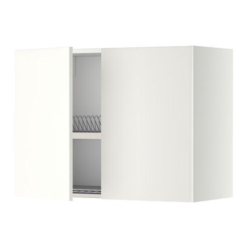 МЕТОД Навесной шкаф с посуд суш/2 дврц - 80x60 см, Хэггеби белый, белый